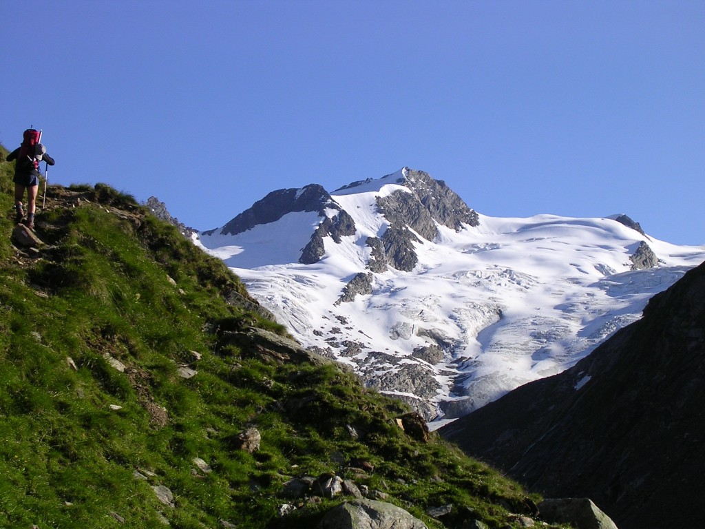 Bergführer Vittorio Messini auf dem Weg zum Philipp-Reuter Biwak