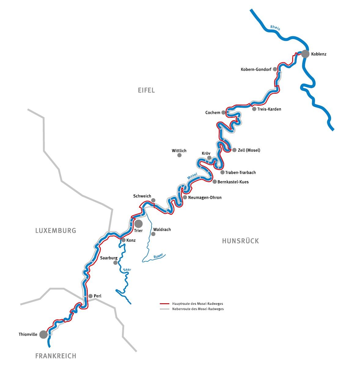 Der Mosel-Radweg führt von Koblenz bis nach Perl